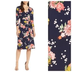 Eliza J Floral Faux Wrap Dress In Navy